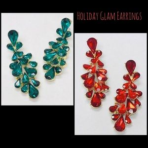 Red or Green Crystal Glam Earrings,NWT